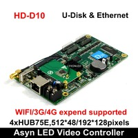 Huidu HD D10+ WiFi Communication Vehicle mounted Full Color LED Screen Controller Card 4xHUB75E Support 1/32 Scan 384x64pixels