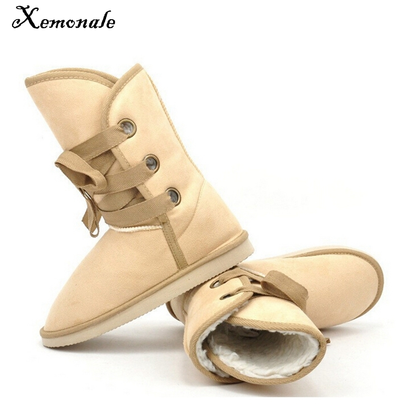Xemonale 2017 New Winter Snow Boot Women Shoes Man-made Fur Buckle Motorcycle Ankle Boots Warm Shoes Woman Flats Size Plus E199