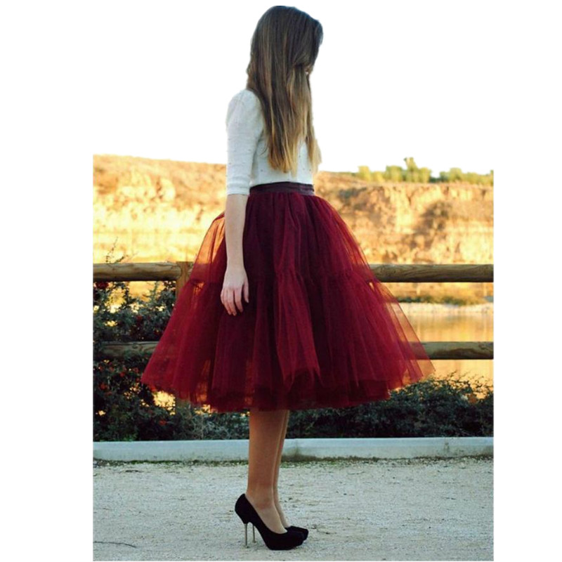 5 layers TUTU Tulle Skirt Knee Length Red Skirt Sex Women Girl Party Skirt
