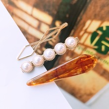 Marble hairpin combines romantic temperament pearl fringe clip adult D149