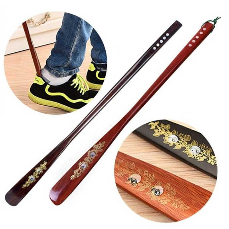 55 cm Ultra largo Mahogany Craft Wenge zapato de madera cuerno profesional de madera de mango largo zapato levantador de cuerno de zapatos nueva llegada