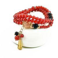 2017 Red Agate Bracelet Multilayer Combination Beaded Bracelet Buddhist Believers Agate Bracelet