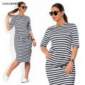 fashionable Striped Autumn women dresses big sizes NEW 2016 plus size women clothing Knee-Length dress casual o-neck loose dress