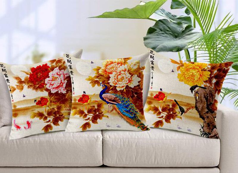 Free shipping National Wind luxury removable peony flowers home decor pillow sets sofa pillowcase car cushions 45X45cm