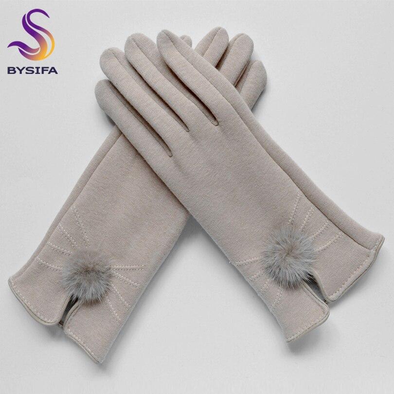 Hot Deals[BYSIFA] Women Mink ball Wool Gloves Fashion Opening Design Winter Ladies Gloves New Trendy Elegant Soft Black Mittens Gloves