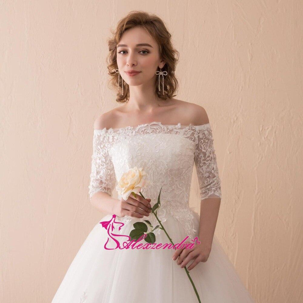 Alexzendra Stock jurken A Line Lace Vintage trouwjurk met korte - Trouwjurken - Foto 4
