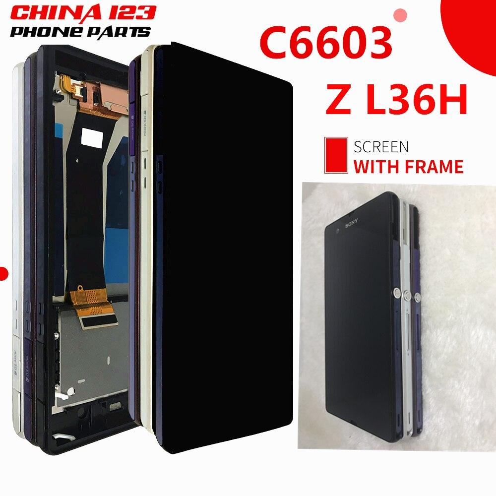 5.0 Noir Pour Sony Xperia Z L36h L36i C6606 C6603 C6602 C6601 C660X LCD Affichage Digitizer Écran Tactile Assemblée + outils + Adhésif