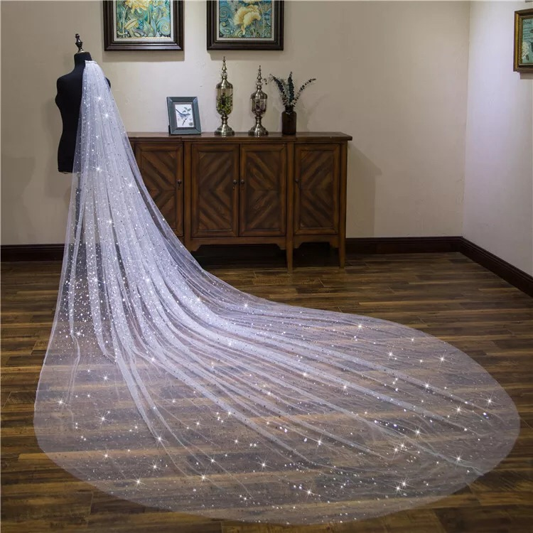 Cinderella Luxury Shining Sequins 3 Meters Long Star Sequins Wedding Veil Shining Sequins Bridal Chapel Veil With Comb