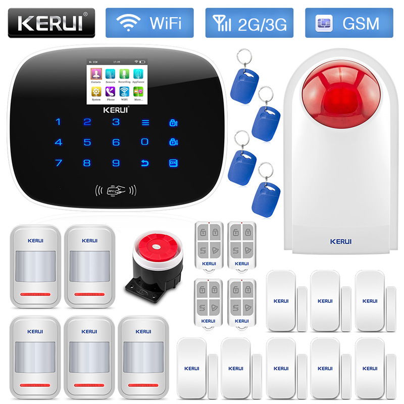 KERUI W193 WiFi 3G GSM PSTN RFID Wireless Burglar Smart Home Security Alarm System With Outdoor Waterproof Siren Motion Detector liectroux x5s robotic vacuum cleaner wifi app control gyroscope navigation switchable water tank