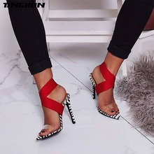 TINGHON 2019 NEW Summer Sexy Women Sandals Leopard Print Shoes Thin High Heels Open toe Ankle Strap Gladiator Pumps Dress Shoes недорого