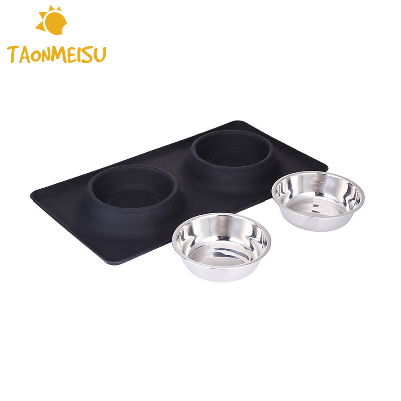 Stainless Steel Double Pet Dog Bowl With Spill Skid