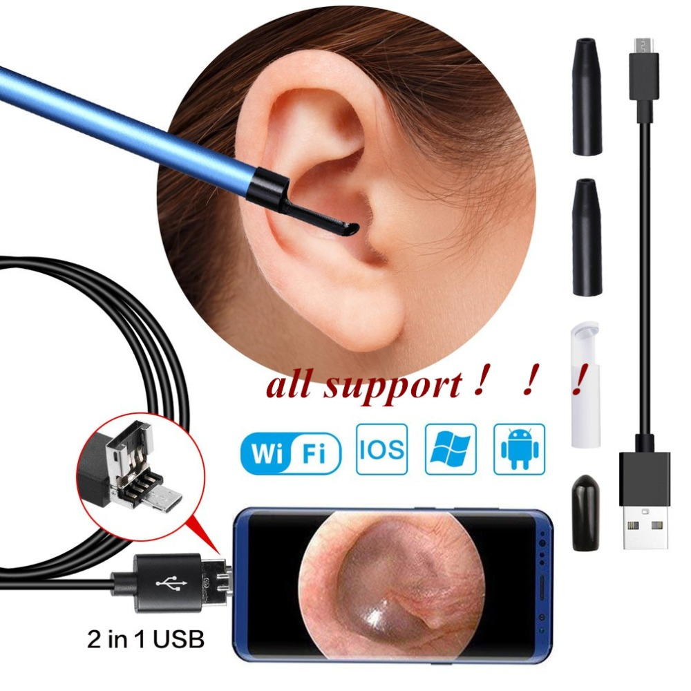 3 en 1 USB oreja limpieza endoscopio auricular con Mini cámara HD removedor de cera de oreja Android Windows IOS wifi
