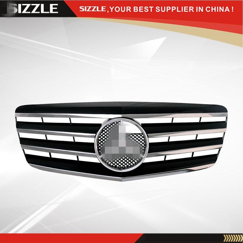 где купить Plastic Black With Chrome Front Grille For Mercedes E-Class W211 2007 2008 2009 CL Style дешево