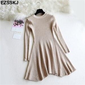 Image 3 - שיק סתיו חורף שחור סוודר שמלת נשים o צוואר ארוך שרוול קו עבה לסרוג מיני שמלה נשי ילדה קצר bodycon שמלה