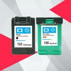 132 136 wymiany pojemnika z tuszem do HP132 136 do drukarki HP Photosmart 2573 C3183 Officejet 6213 PSC 1513 drukarki