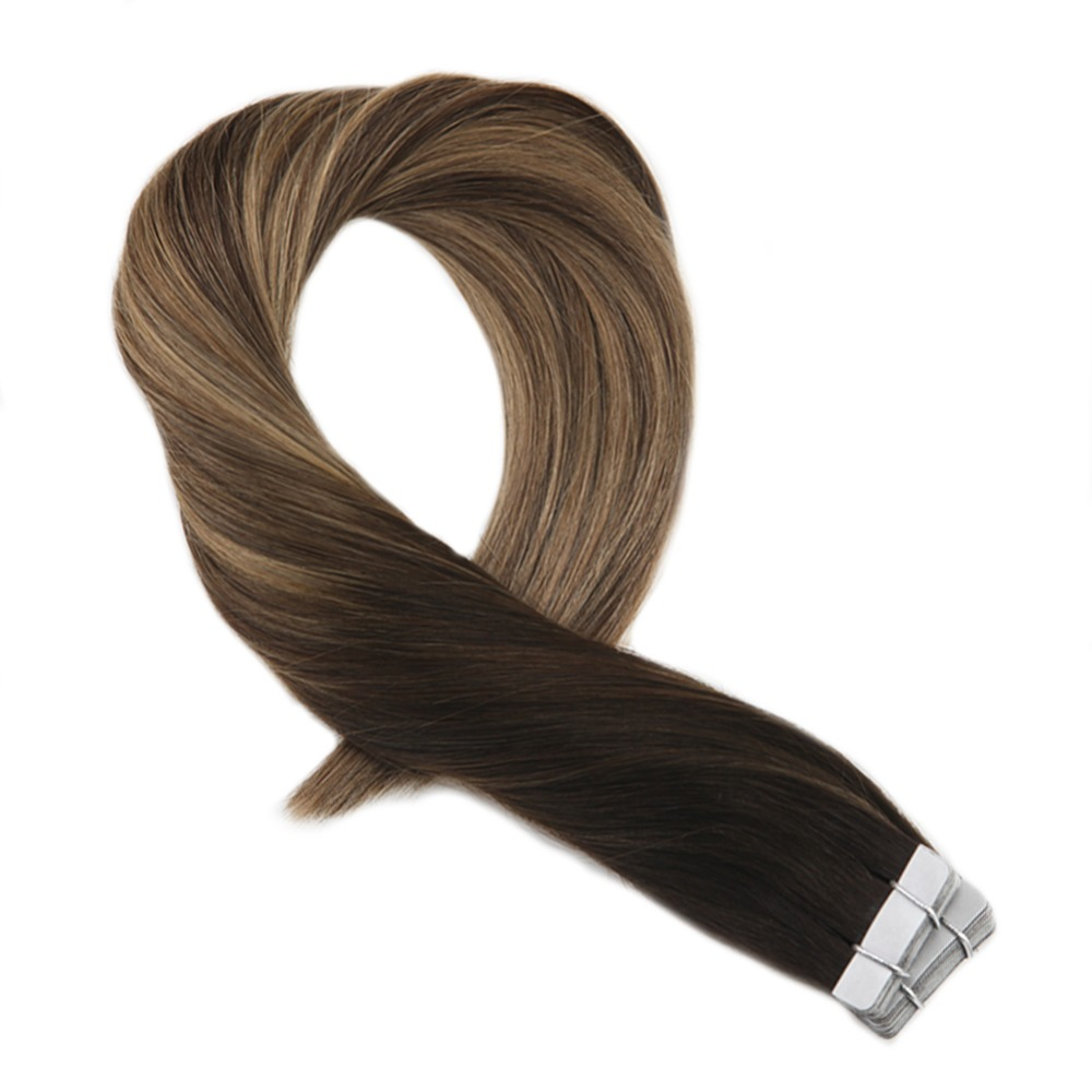 Moresoo Tape In Hair Extensions Human Hair Real Remy Hair Balayage Ombre Color #1B To #3 Brown Highlighted With #27 Blonde(China)