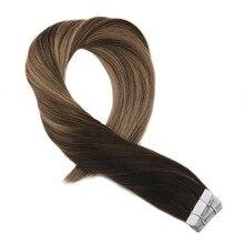 Moresoo ленты в наращивание волос натуральные волосы реального Волосы remy выметания Ombre Цвет # 1B к #3 коричневый выделены #27 блондинка