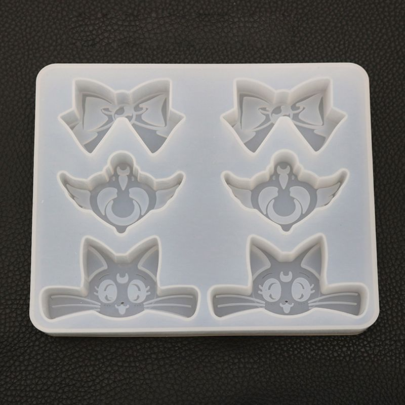 Cartoon Cat Bowtie Heart Wing Pendant Silicone Mold UV Resin Jewelry Tools