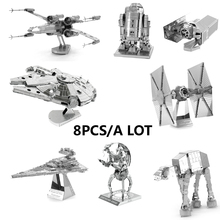 Chinese Metal Earth Star Wars 3D Metal model Etching Puzzles DIY 8PCS/a lot X-WING/Millennium Falcon/Tie Fighter creative gifts
