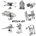 Chinese TOYS Star Wars 3D Metal model Etching Puzzles DIY 8PCS/a lot X-WING/Millennium Falcon/Tie Fighter creative gifts