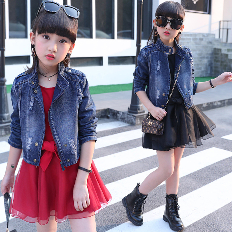 Children's clothing 2018 new big girls spring denim Jackets baby clothes sets kids personality two pieces suits for 4 to 14 yrs children s clothing 2018 new girls spring denim clothes sets kids mesh dress suits personality suit baby child casual jackets