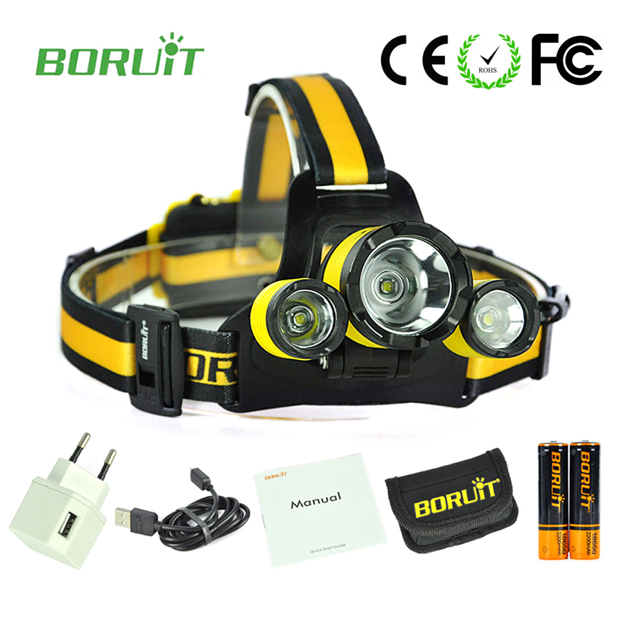High power led headlamp Boruit RJ-3000 PLUS 3T6 5000 Lumens headlight rechargeable camping lights with 18650 battery + charger
