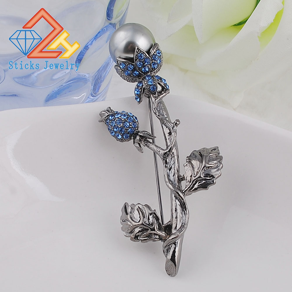 Hot Sale Fashion Women Elegant Beaded Nice Jewelry Black Plated Simulated Pearl 'Tree' Brooch Wholesale