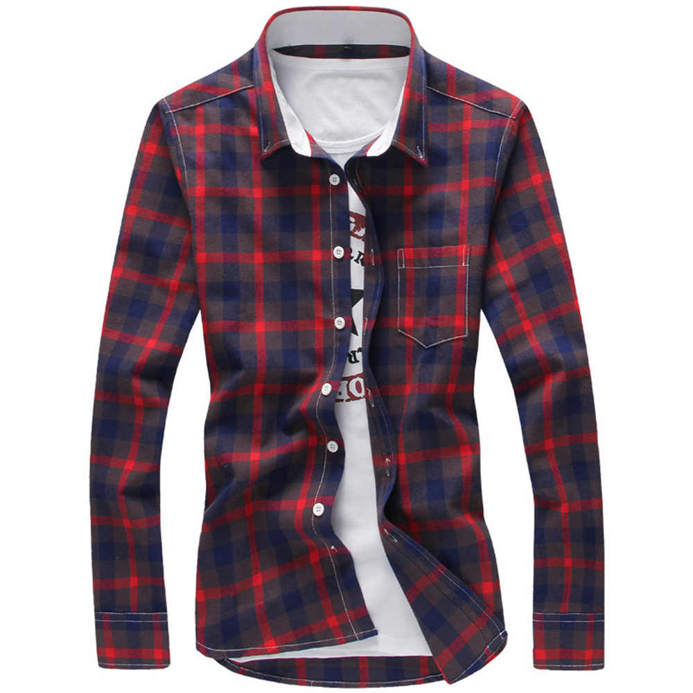 XMY3DWX стильные мужские осень с лацканами, приталенный силуэт для отдыха хлопковый в сетку рубашка с длинным рукавом/мужской Джокер с лацканами для отдыха Бизнес рубашка/размер M-5XL