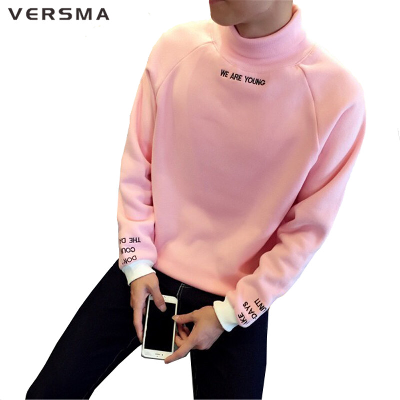 VERSMA Fashion Style Sweatshirt Men Casual Streetwear Hoodies Letter Printed Hoodies Black Sweatshirt Pullover Men Free Shipping