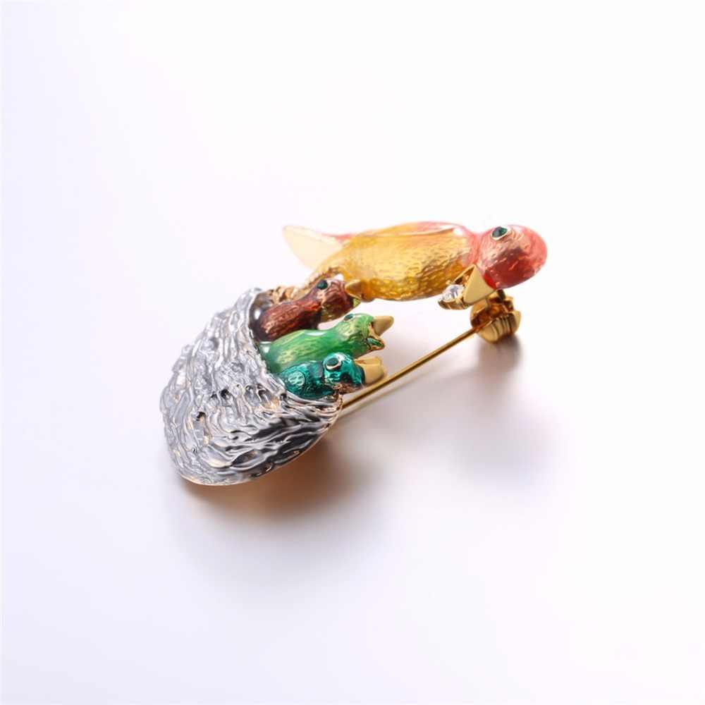 Burung Makan burung Bros Desain Kreatif Ibu Nya Anak & Austria Berlian Imitasi Hewan Bros Untuk Partai Dekorasi Aksesori B2721