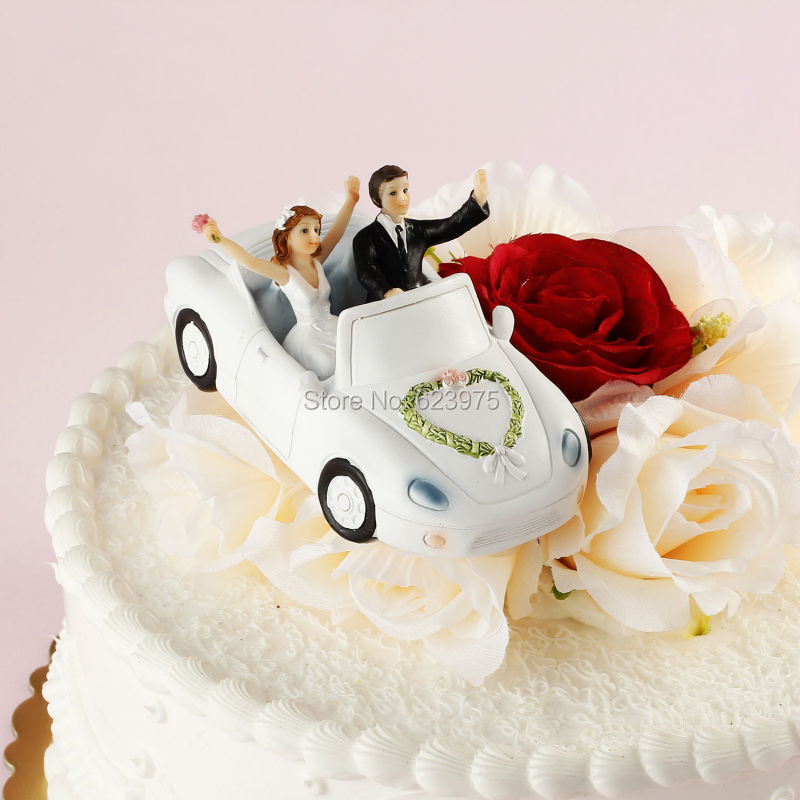 Car Cake Topper Happy Couple In Festooned Vehicle Wedding Figurines Decorating Supplies From Home Garden On Aliexpress