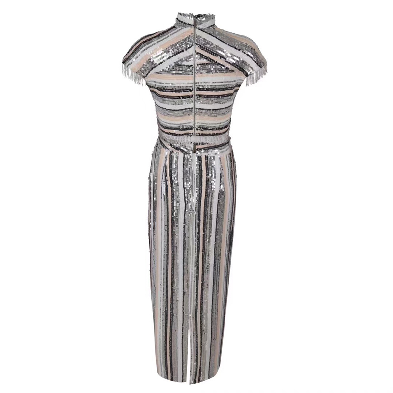 Fashion Silver Sequin Shining Celebrity Evening Party Dress Women Vestidos Good Quality Two 2 Pieces Set Bodycon Suit Wholesale 2
