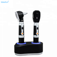 Rechargeable Fiber Optic LED Otoscope & Ophthalmoscope otoscopic Personal Care Set   Dual handle Charging Base