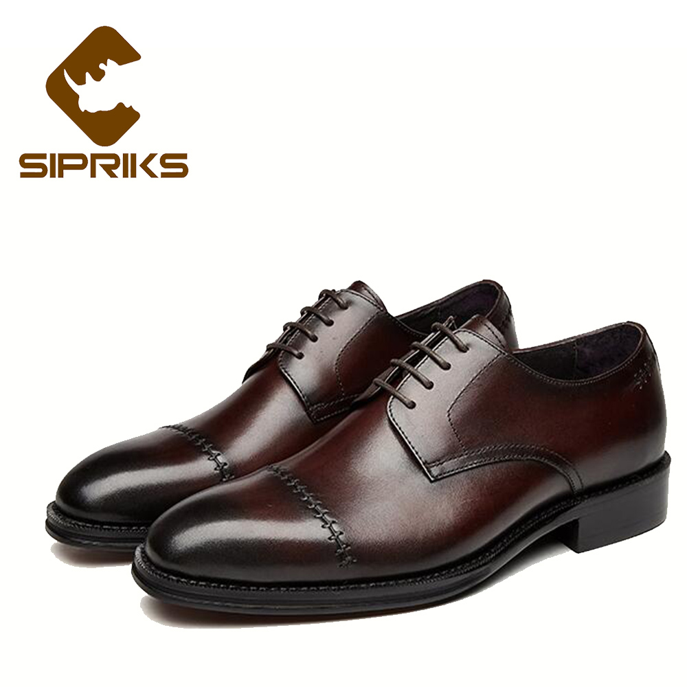Sipriks men black church shoes rubber sole dress shoes waxed thread for sewing leather lace up derby shoes italian hand crafted стоимость