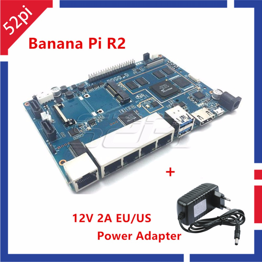 цена на In Stock! Banana Pi R2 BPI-R2 Quad-Core 2GB RAM with SATA WiFi Bluetooth 8GB eMMC +12V 2A EU / US DC Power Adapter/Supply