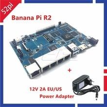 In Stock! Banana Pi R2 BPI-R2 Quad-Core 2GB RAM with SATA WiFi Bluetooth 8GB eMMC +12V 2A EU / US DC Power Adapter/Supply