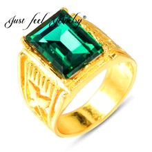 JUST FEEL New Ethiopian Green Square Opal Ring Luxury Gold Color Big Crystal Ring for Woman African Turkey Nigerian Wedding Gift(China)