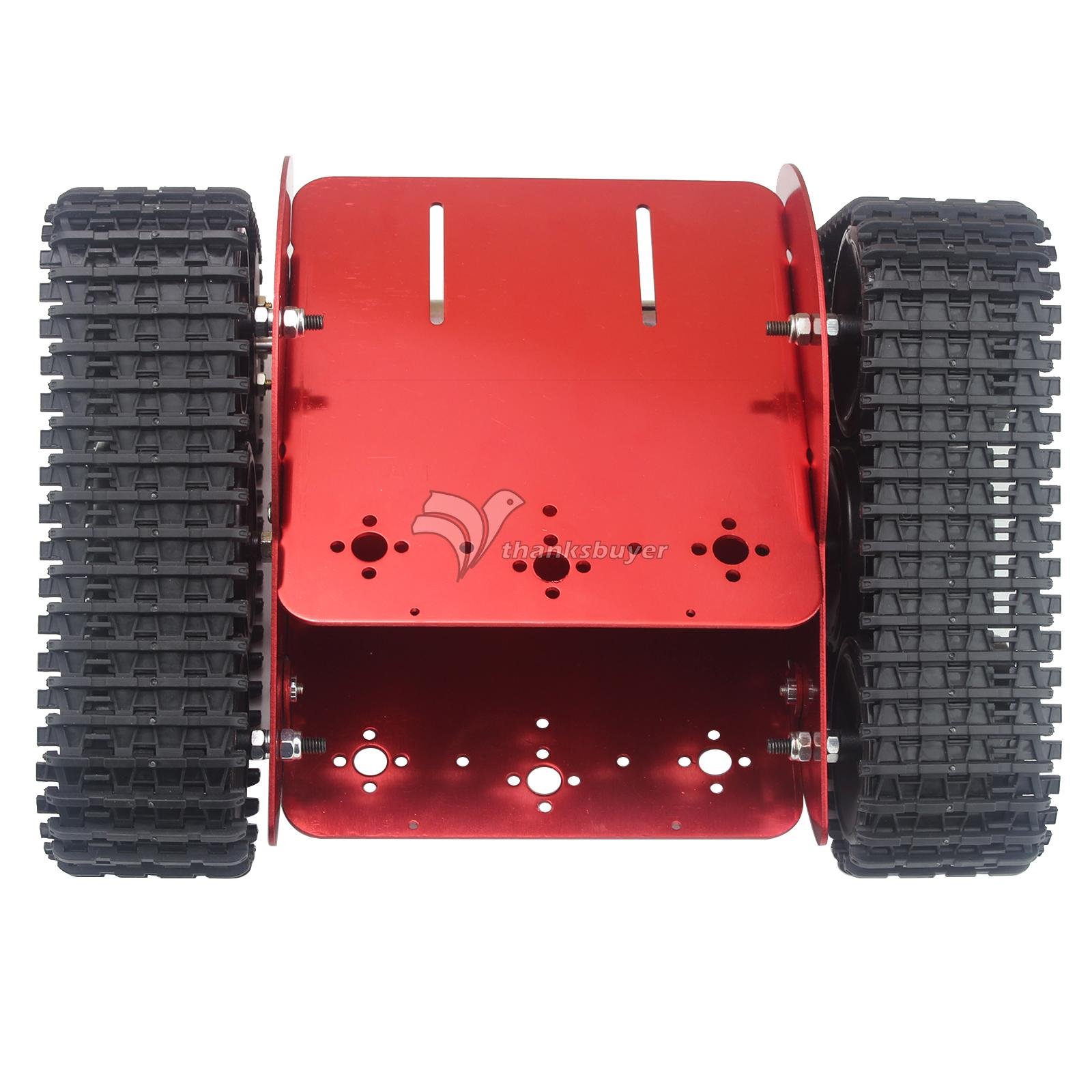 Unassembled TZTROT-6 Red Tracked Vehicle Tank Chassis Crawler Remote Control Robot Car with DC Motor for Arduino diy 85 light shock absorption plastic tank chassis with rubber crawler belt tracked vehicle big size