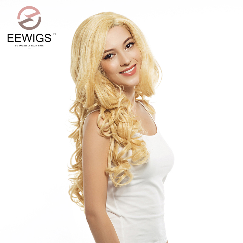 Synthetic Lace Front Wigs Long Womens Wig L Part Yellow Yaki Hair Blonde Wigs Natural Transparent Lace Wig For White Women