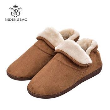 Hiver grande taille hommes chaud doux coton couleur flanelle intérieur étage femmes maison chaussures pour Couple chambre maison Furry pantoufles