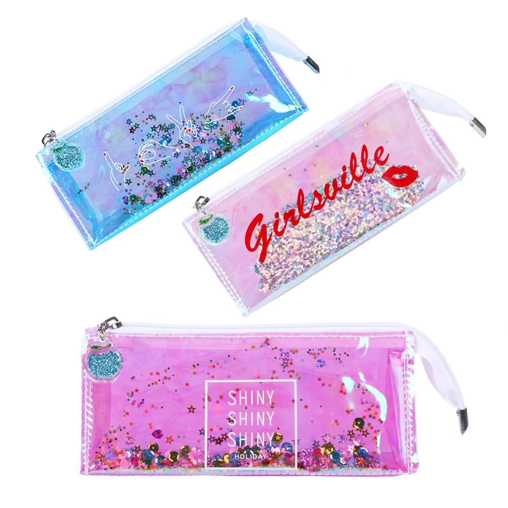 1pc Fashion Laser Star Sequins Quicksand Pen Lip Cosmetic Bag Makeup Pouch Gesture Pencil Case Coin Purse Storage Holder