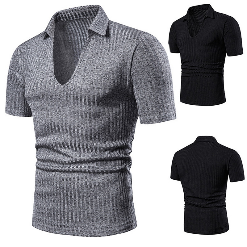 Brand New Men Sexy Deep V neck   Polo   shirt Summer Turn Down Short Sleeves Tee Solid Casual Slim Tops Fashion Design Male Clothing