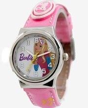 Muñeca de la historieta Impresión Dial Relojes Niños Encantadores Nueva Rosa Band PNP Plata Brillante caja de Reloj Reloj de Los Niños KW060A