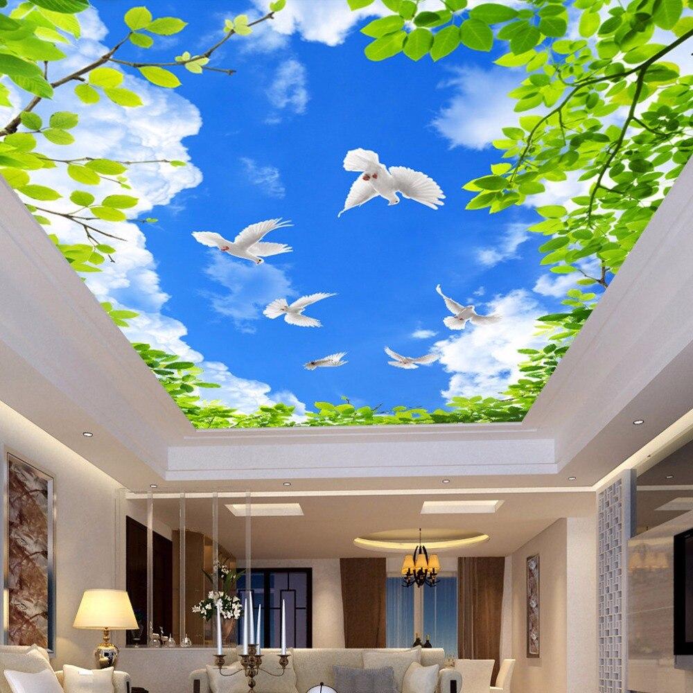 Toko Online Langit Biru Awan Putih Hijau Daun Merpati Lukisan