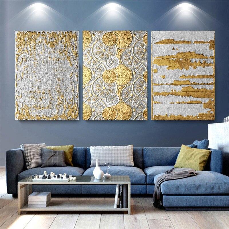 Bedroom Minimalist Art: Gold Luxury Abstract Vintage Nordic Home Wall Art Decor