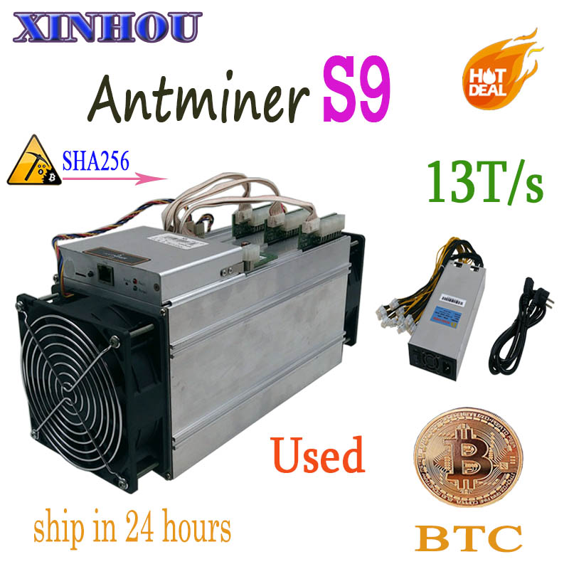 used BTC BCH miner AntMiner S9 13T SHA256 16nm asic Bitcoin miner More economical than S11