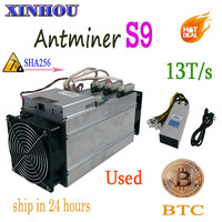 used BTC BCH miner AntMiner S9 13T SHA256 16nm asic Bitcoin miner More economical than S11 S15 T15 Whatsminer M3 M10 Innosilicon