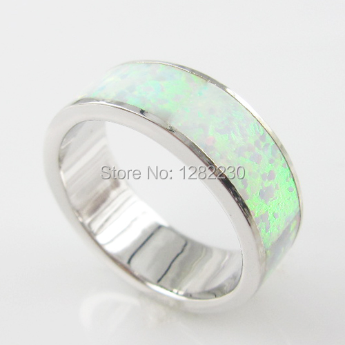 Colour Opal Men Ring Opal Inlay Jewelry 925 Silver Engagement Ring