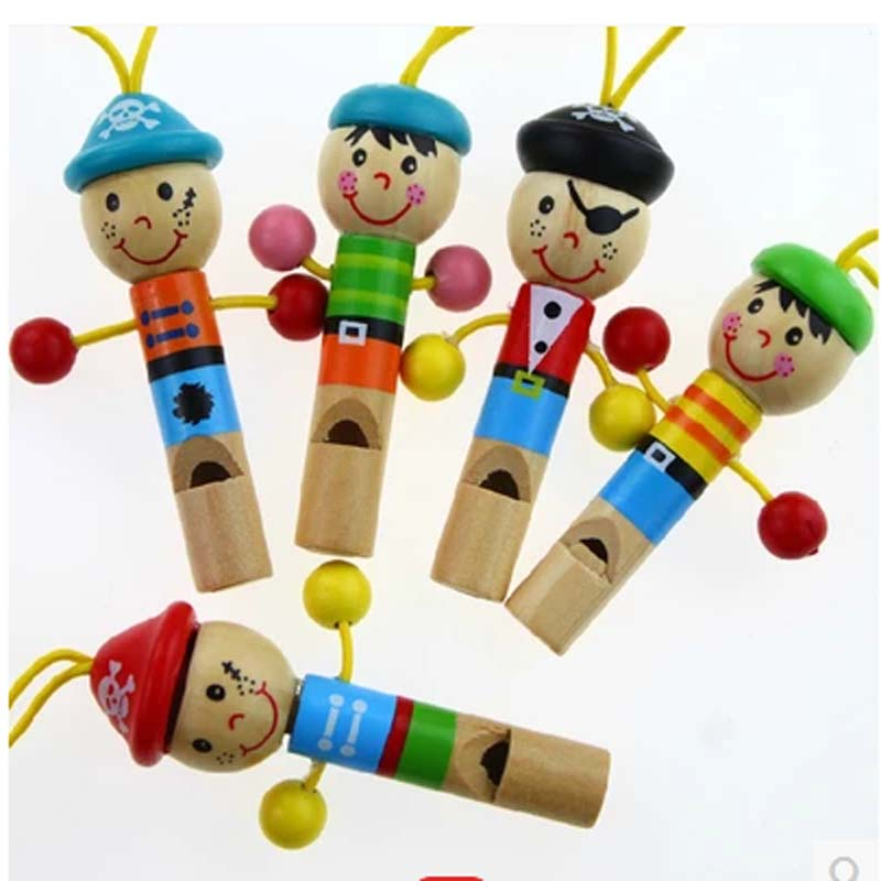 20pcs free shipping Wooden Random colored Cartoon Pirate Whistle Toys Educational Music Instrument Toy  Baby Kids Children Toys