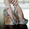 Custom Made Snakeskin Peep Toe Wedges For Women Handmade Platform Ankle Lace Up Tie 15cm Heel Height Peep Toe Wedges